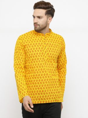 leafe yellow kurta