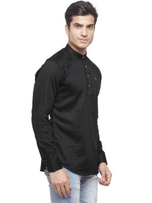 solid black kurta